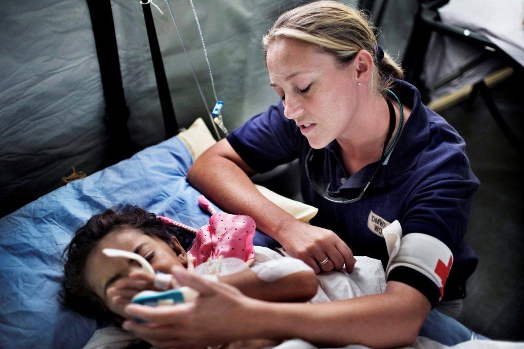 DMWS welfare officer in field hospital