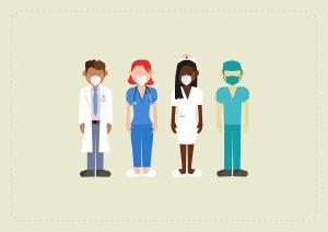 sketch of NHS staff wearing masks